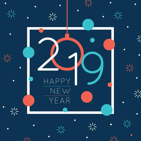 Colorful 2019 New Year Greeting vector