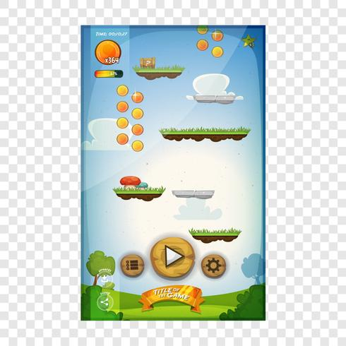 Diseño de interfaz de usuario de juego de salto para tableta vector