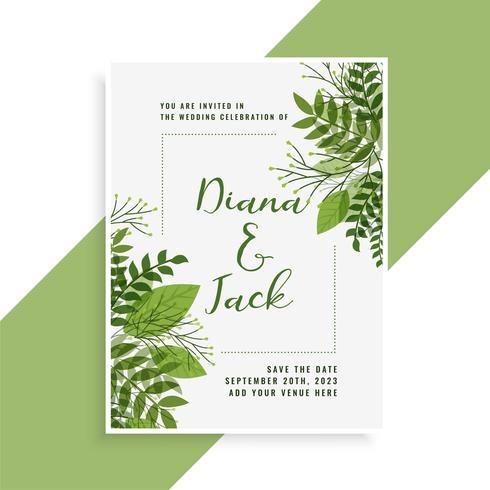 bröllopinbjudningskortdesign i blommigt grönt löv stil