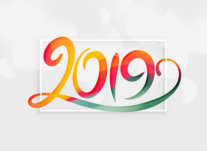 lettering creativo 2019 in stile colorato