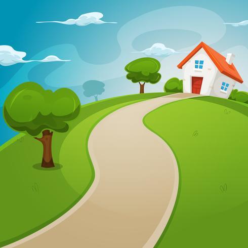 Casa all'interno di campi verdi vettore