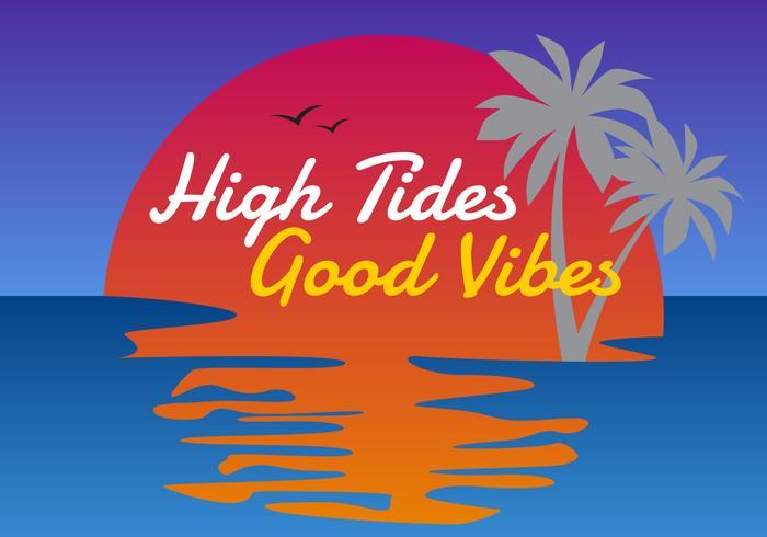 Vectores de marea alta únicos buenas vibraciones letras