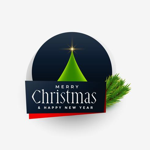 vrolijk kerstfeest label ontwerp met boom en bladeren