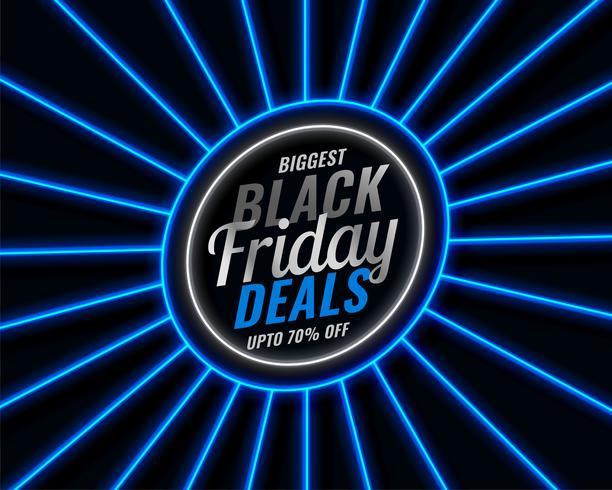 sexta-feira negra azul estilo neon venda banner