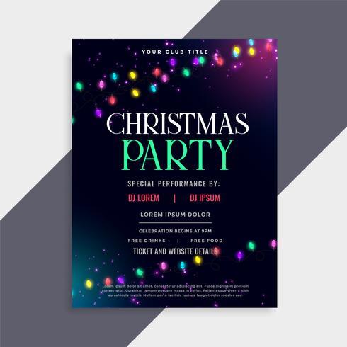 Julfest affischdesign med dekorationslampor