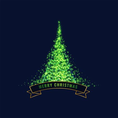glühender grüner Weihnachtsbaum-Designhintergrund