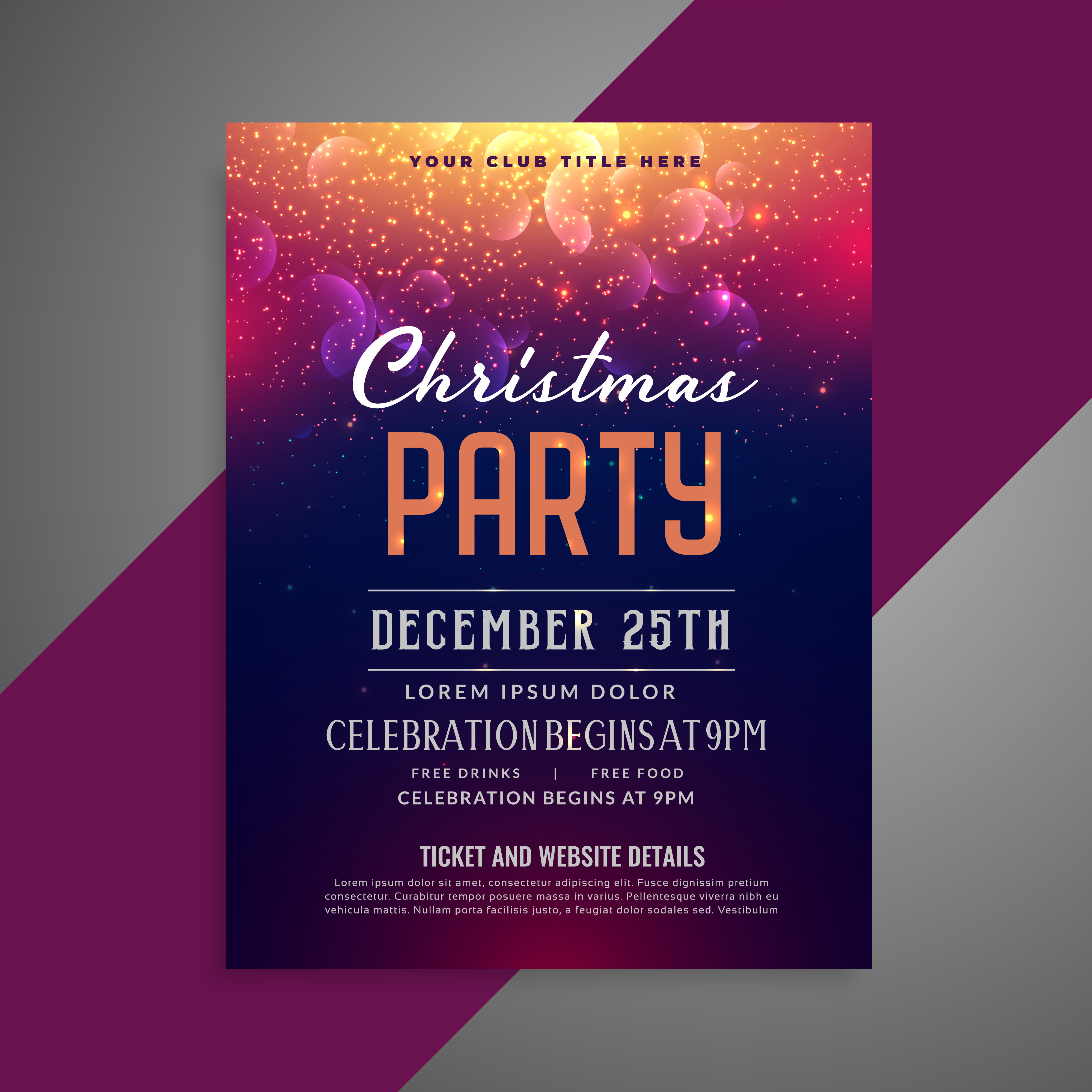 vector-merry-christmas-sparkles-party-poster-flyer-design-template Xmas Letter Template on sample request, basic cover, sample business,