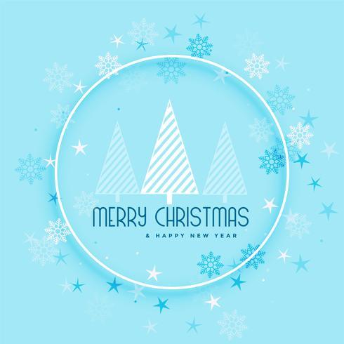 bei fiocchi di neve e albero sullo sfondo per buon Natale