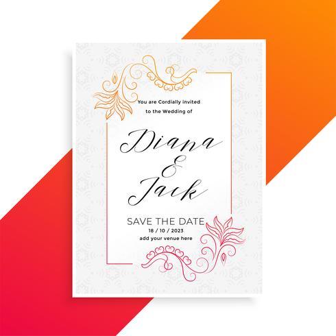 härlig blommigbröllopinbjudningskortdesignmall