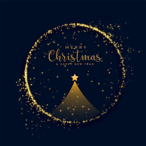 brillante sfondo di particelle d'oro albero di Natale allegro