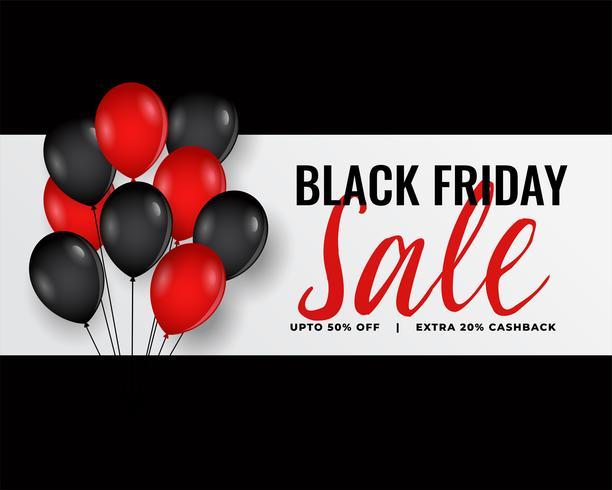 modern svart fredag banner med röda och svarta ballonger