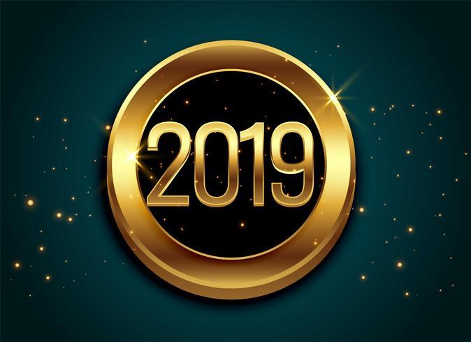 2019 guld glänsande etikett design bakgrund