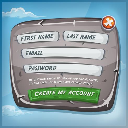 Formulaire de connexion sur panneau de pierre pour le jeu de l'interface utilisateur vecteur