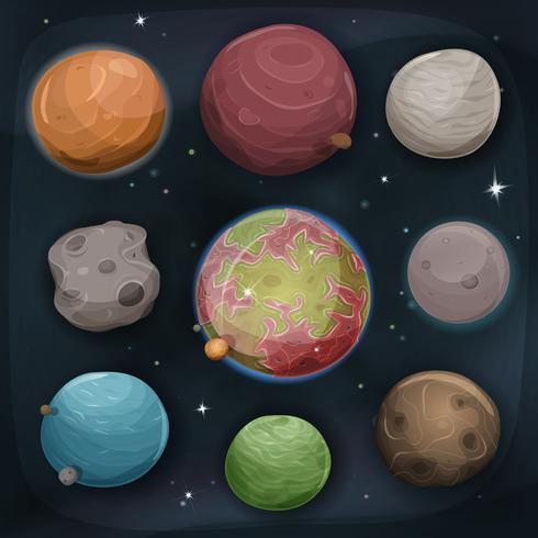 Comic Planets Set On Space Background