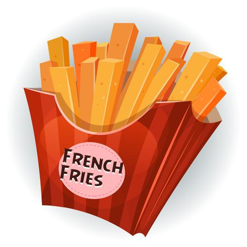 French Fries Inside Box vector