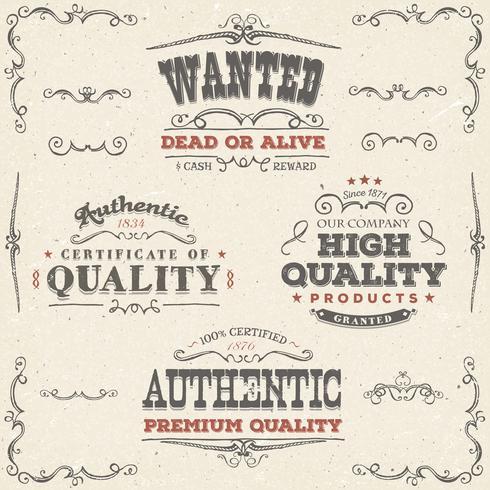 Mão desenhada Vintage qualidade Banners e rótulos