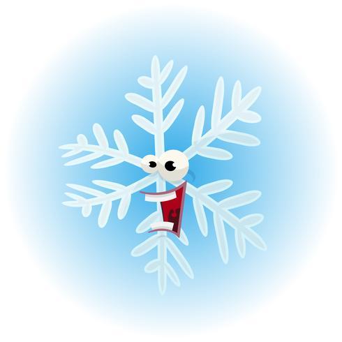 Personaje de dibujos animados divertido copo de nieve vector