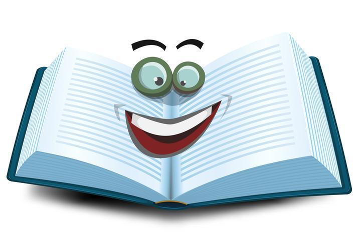Open boek karakter pictogram vector