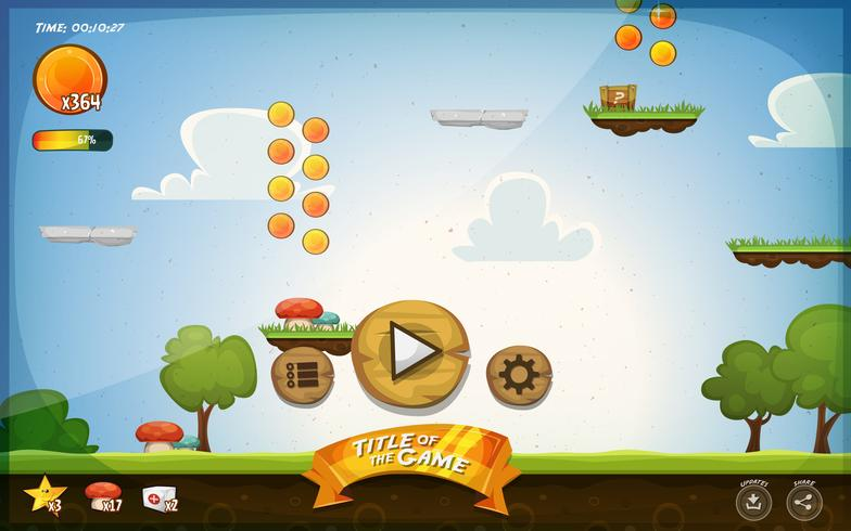 Platform Game User Interface For Tablet vector