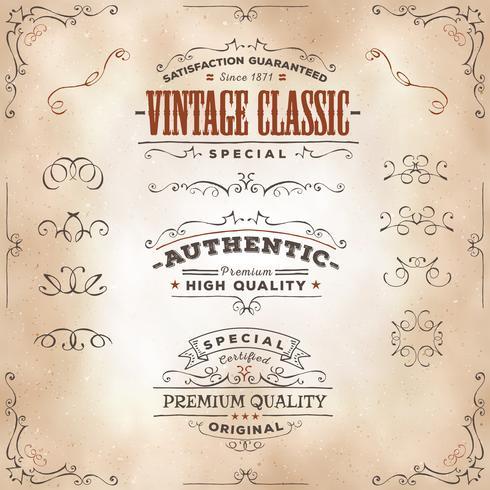 Handdragen Vintage Banderoller Och Band