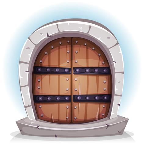 Tecknad medeltida trä och sten dörr