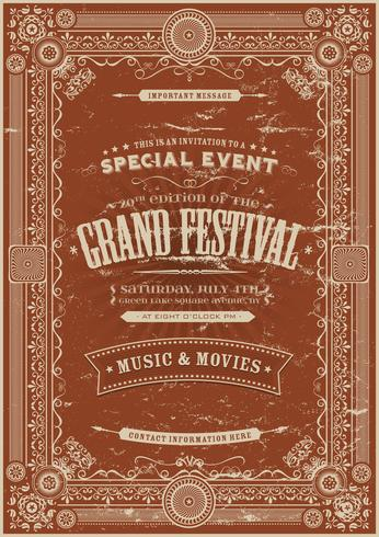 Fondo del cartel del festival retro vintage vector