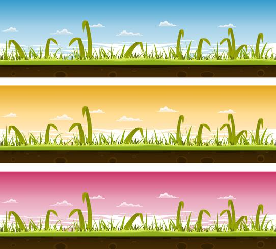 Grass And Lawn Landscape Set  vector