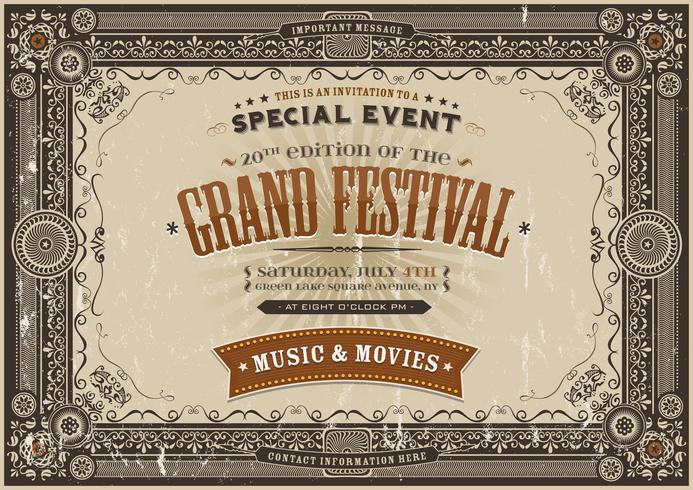 Vintage Retro Festival Poster Bakgrund