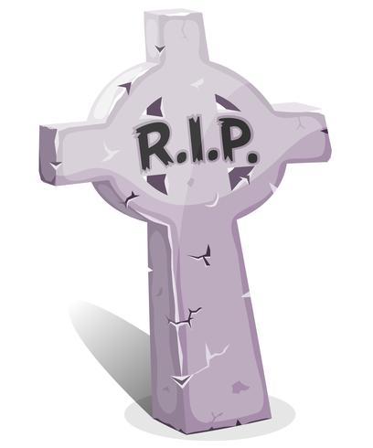 Pierre tombale chrétienne de dessin animé avec RIP