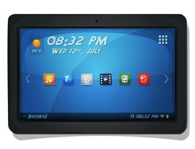 Tablet PC digital com ícones do sistema operacional vetor