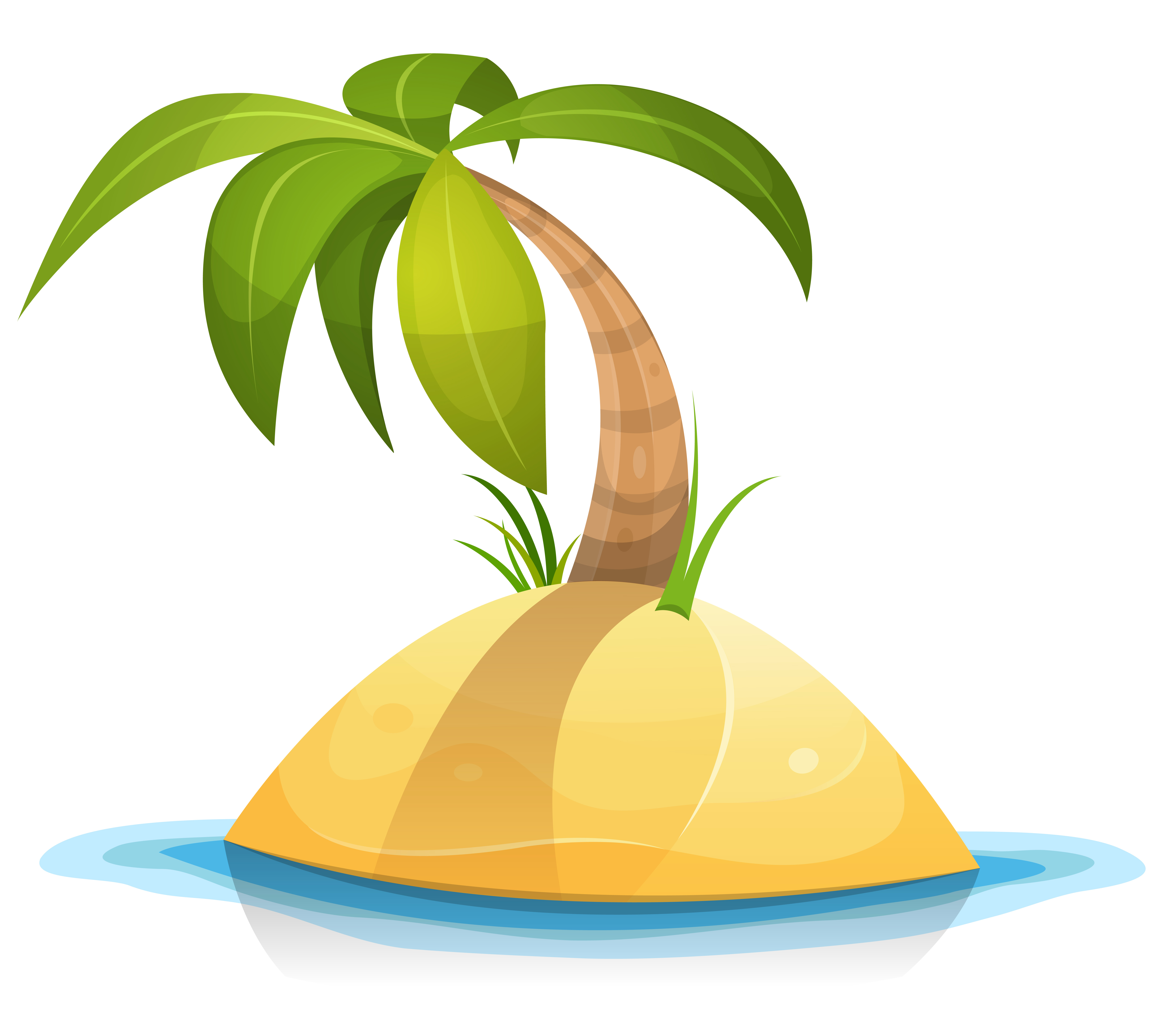 Desert Island Beach: Palm Tree On Tropical Desert Island