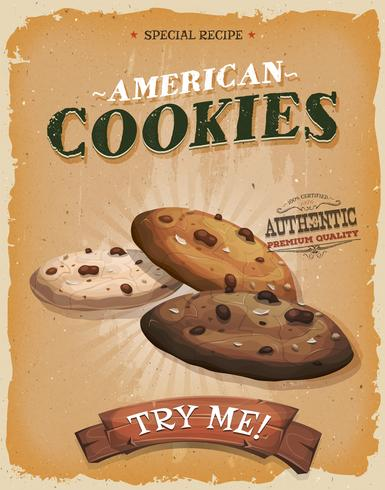 Grunge And Vintage American Cookies Poster vector