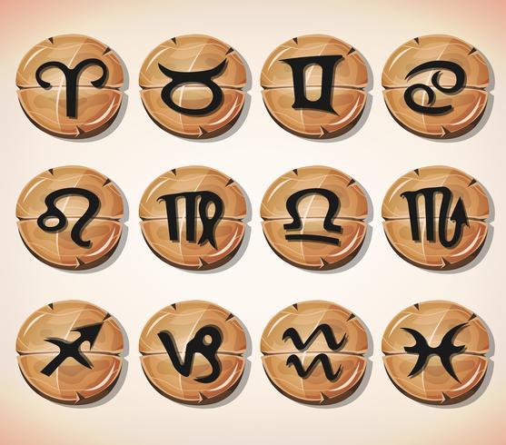 Signos del zodiaco y conjunto de iconos vector