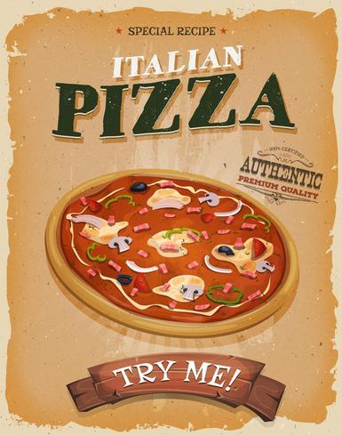 Grunge und Weinlese-Pizzeria-Plakat vektor