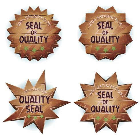 Sigillo di qualità in legno dei cartoni animati