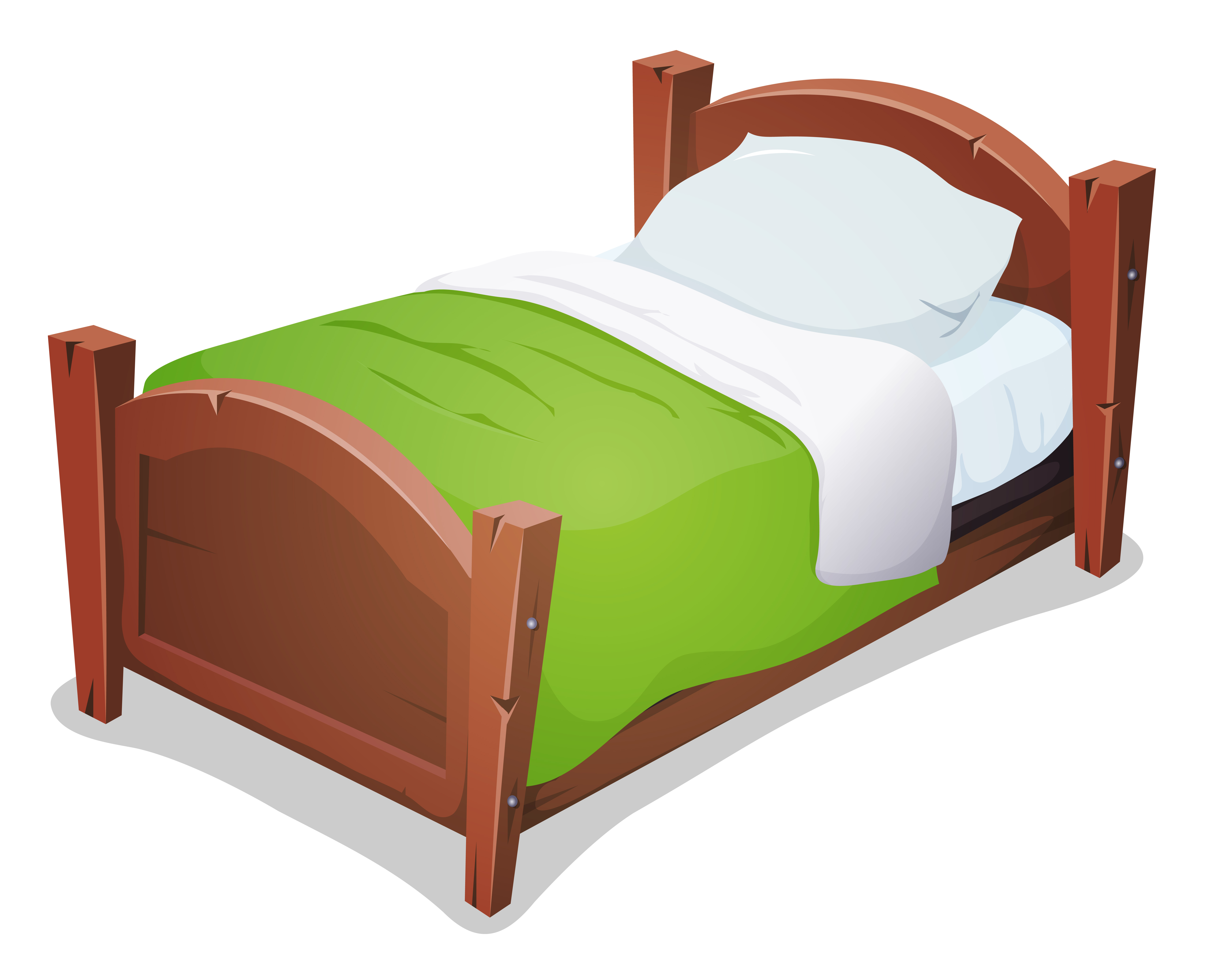 Wood Bed With Green Blanket Vector Download Free Vector