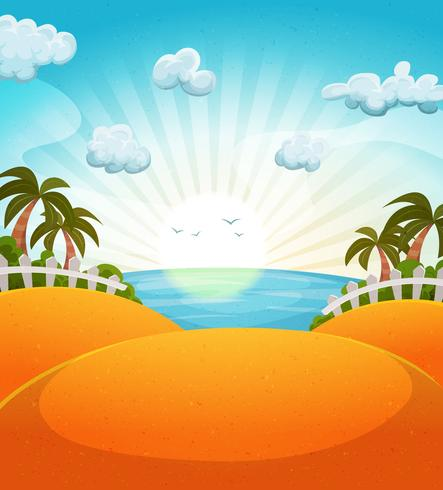 Cartoon zomer strand landschap vector