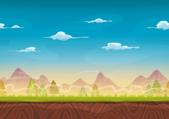 Seamless Mountains Landscape For Ui Game vector
