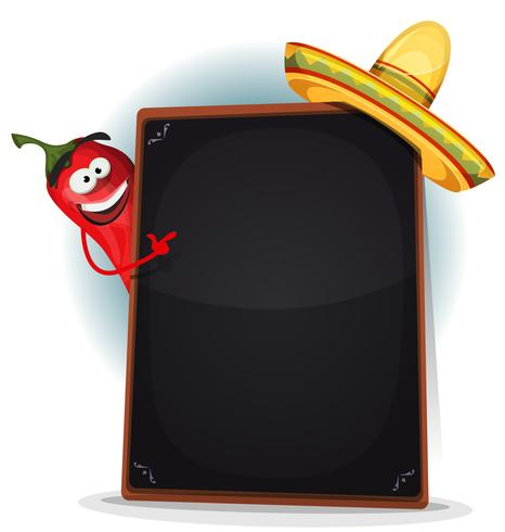 Tex-Mex-menu met Chili Pepper en Sombrero