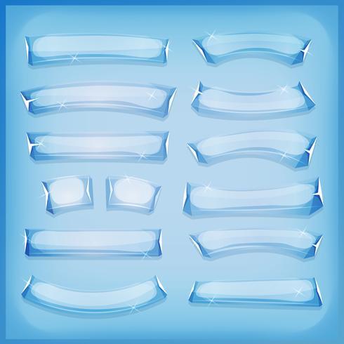 Cartoon glazen ijs en kristal banners