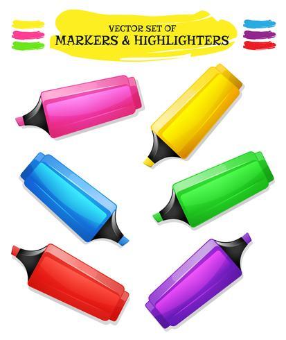 Highlighters And Felt Tip Pen Set vector