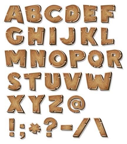 komisk trä alfabet