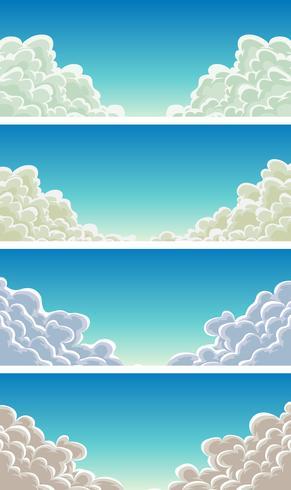 cloudscape inställd på blå himmel bakgrund