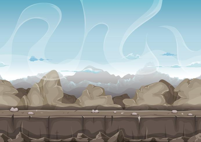 Seamless Stone And Rocks Desert Landscape For Ui Game