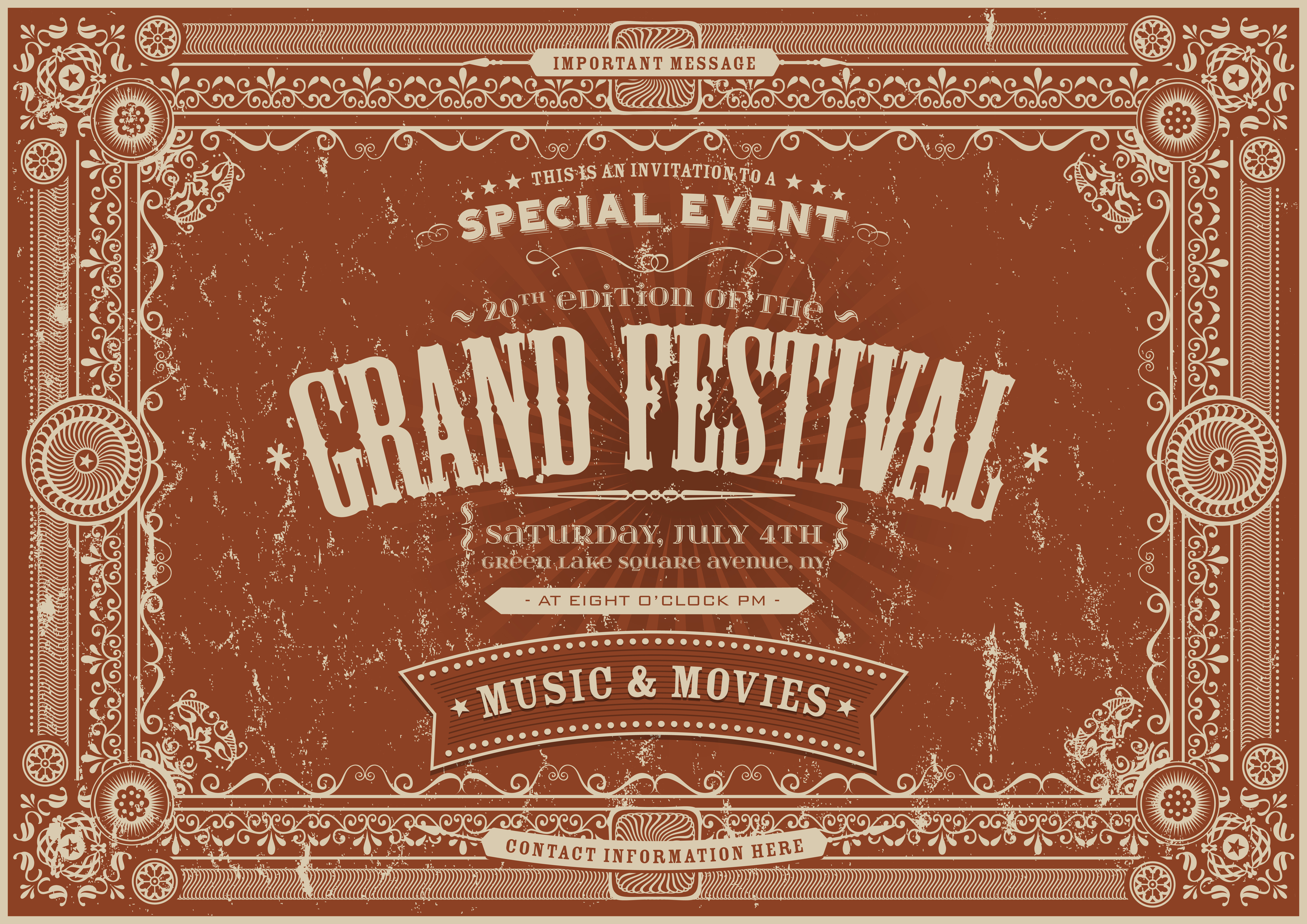 Vintage Retro Festival Poster Background - Download Free ...
