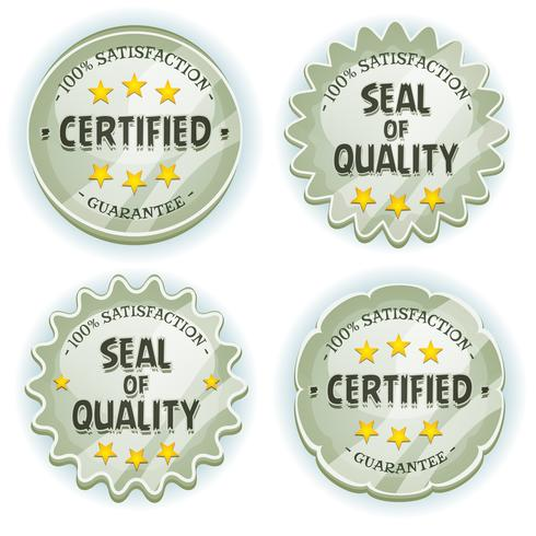 sellos de calidad premium de plata de dibujos animados vector