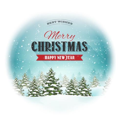 Kerst landschap briefkaart vector