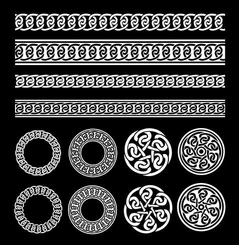 Fronteras celtas, patrones y anillos establecidos vector