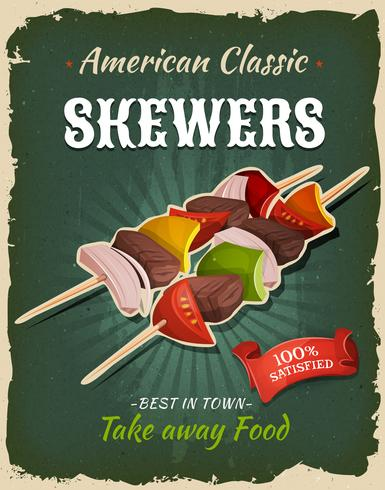 Retro Fast Food Skewers Poster vector