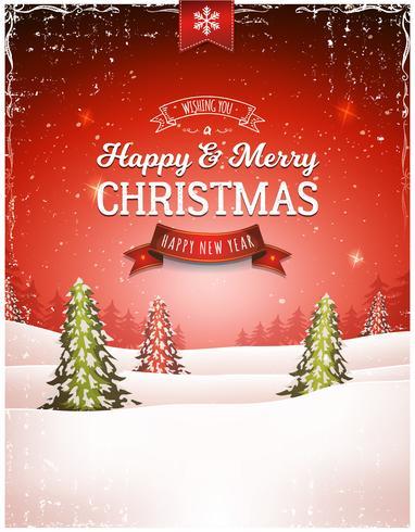 Vintage Christmas landschap achtergrond vector